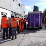 The team at Shay Murtagh Precast about to be fed by David Smyth Catering