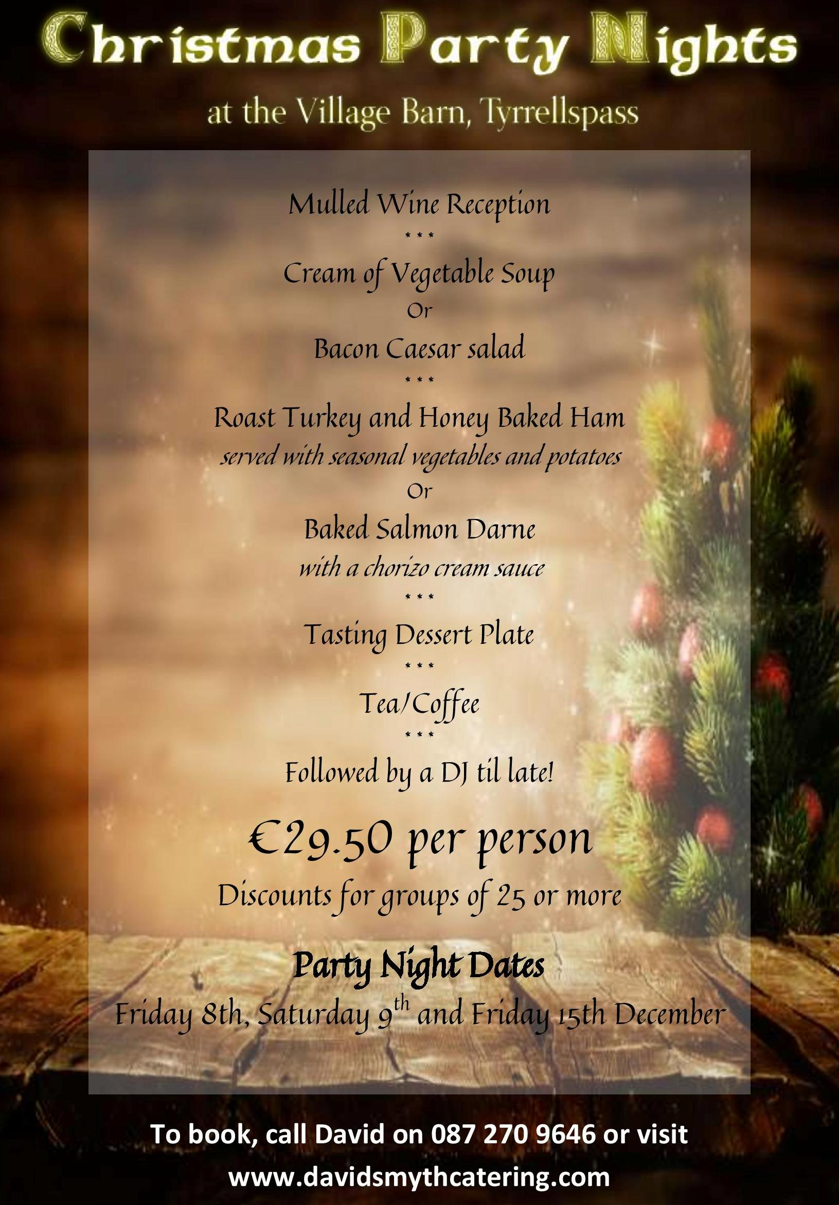 Christmas Party Nights at The Village Barn, Tyrrellspass
